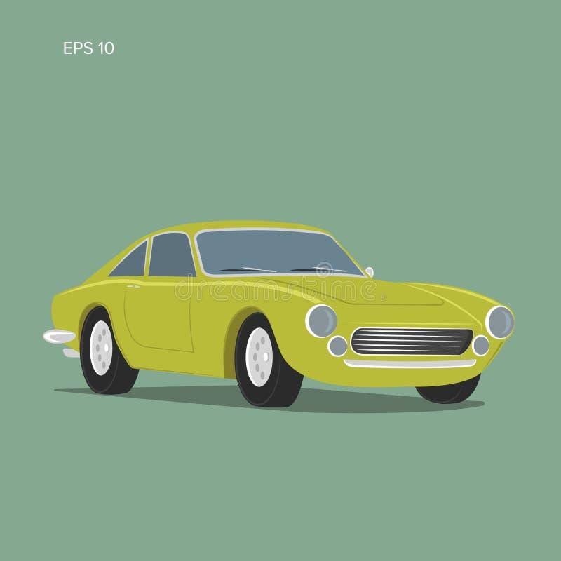Illustrazione d'annata di vettore dell'automobile sportiva Automobile classica europea illustrazione di stock