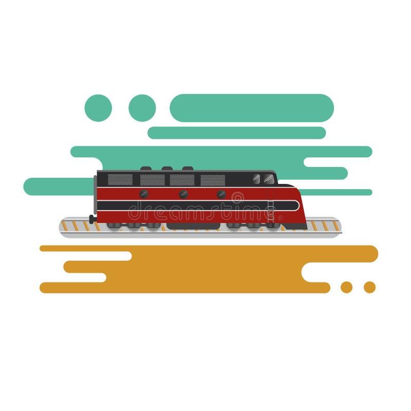Illustrazione d'annata di vettore della locomotiva diesel Retro treno merci del carico illustrazione vettoriale