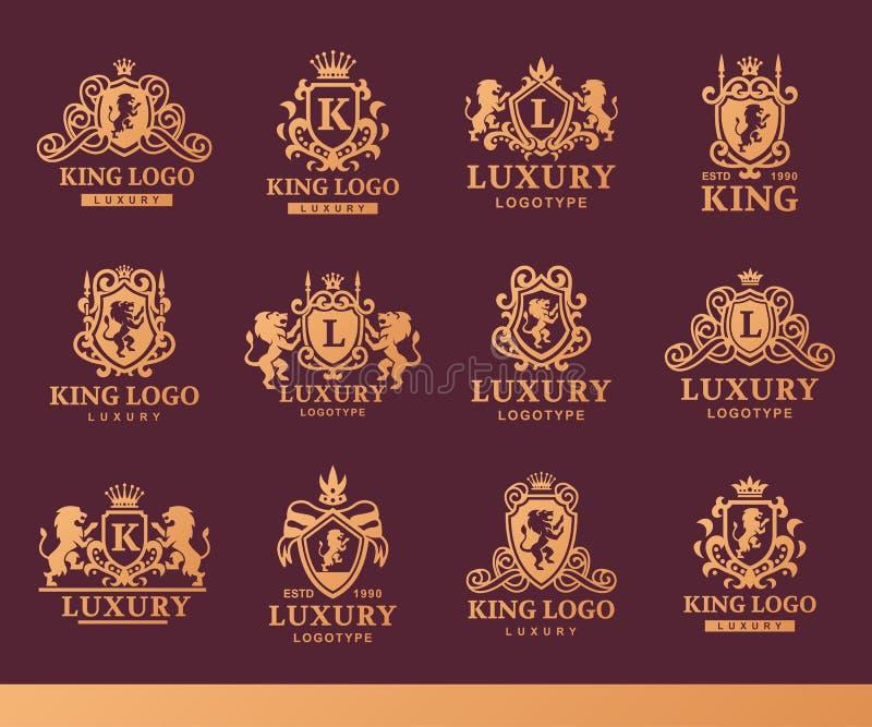 Illustrazione d'annata di vettore di identità di marca della raccolta di logo dell'araldica del prodotto del boutique di alta qua royalty illustrazione gratis