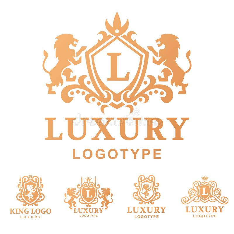 Illustrazione d'annata di vettore di identità di marca della raccolta di logo dell'araldica del prodotto del boutique di alta qua illustrazione vettoriale