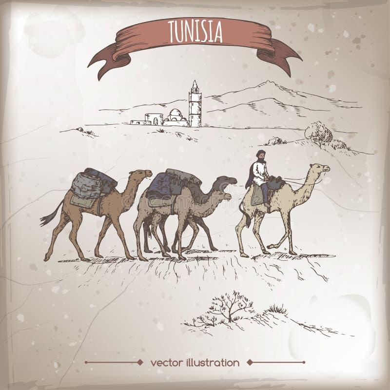 Illustrazione d'annata di viaggio con il deserto, i cammelli e la vecchia moschea, Tunisia royalty illustrazione gratis