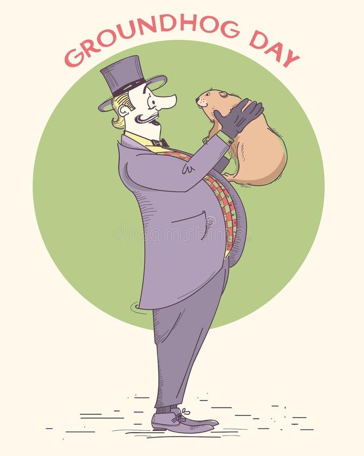Illustrazione d'annata disegnata a mano di festa di giorno della marmotta signore royalty illustrazione gratis