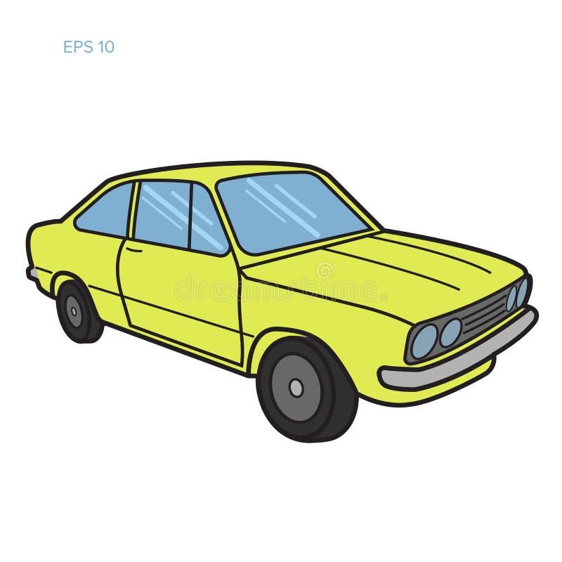 Illustrazione d'annata europea di vettore dell'automobile Automobile sportiva d'annata illustrazione di stock