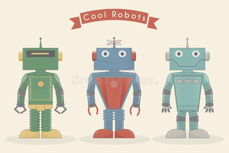 Illustrazione d'annata fresca di vettore dei robot royalty illustrazione gratis