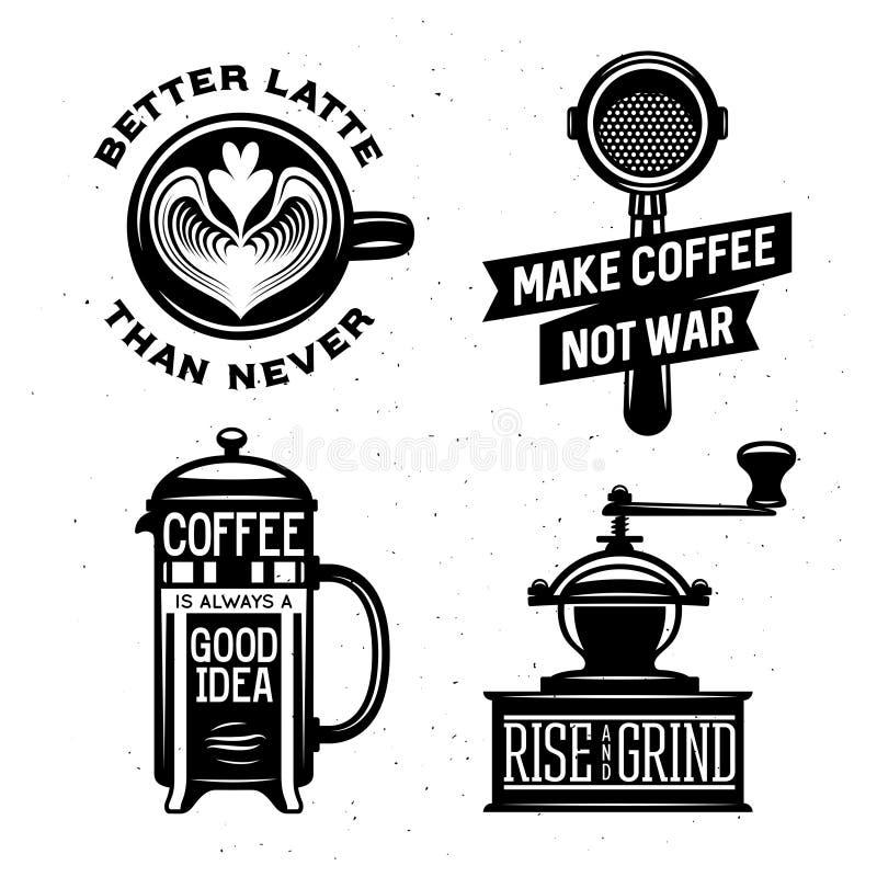 Illustrazione d'annata relativa di vettore del caffè con le citazioni royalty illustrazione gratis