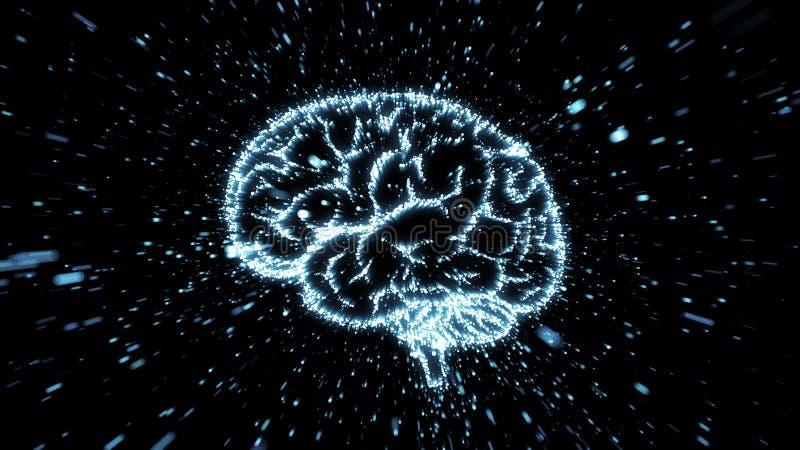 Illustrazione d'ardore del cervello che è fromed dall'esplosione della particella con mosso illustrazione di stock