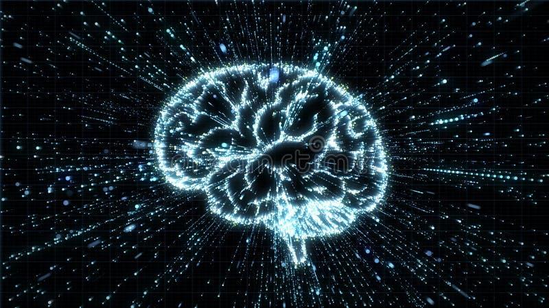 Illustrazione d'ardore del cervello che è fromed dall'esplosione della particella con mosso illustrazione vettoriale