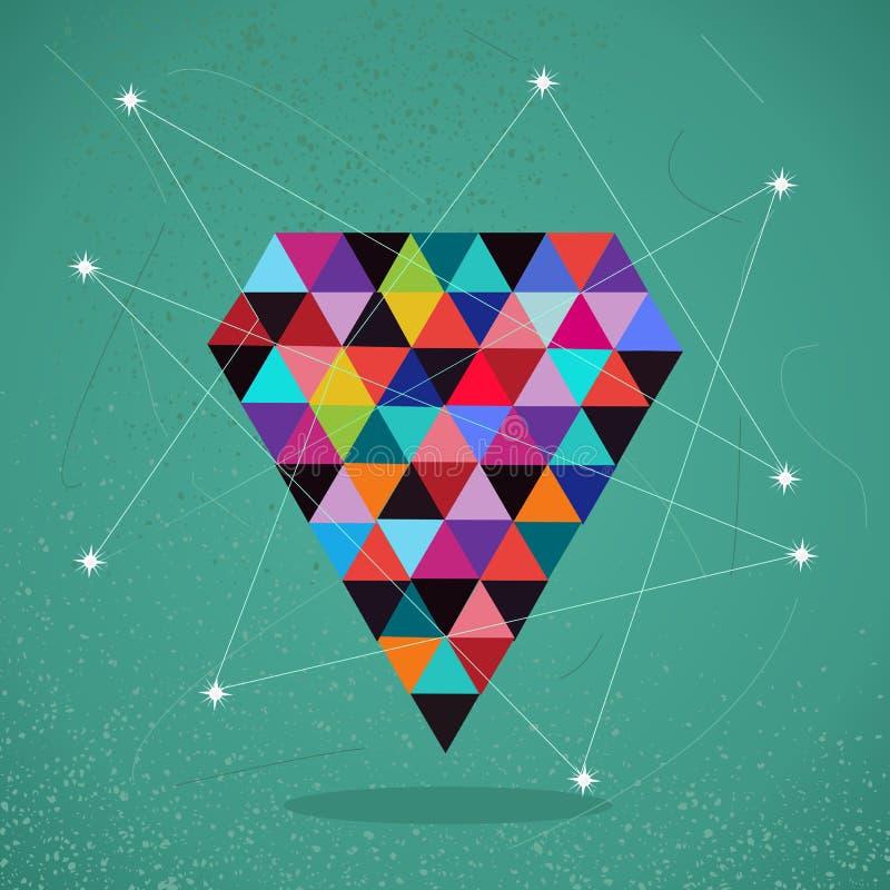 Illustrazione d'avanguardia del diamante del triangolo dei retro pantaloni a vita bassa. illustrazione vettoriale