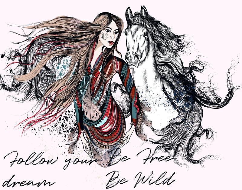 Illustrazione d'avanguardia di modo con la bella ragazza di boho Tantino d'avanguardia illustrazione vettoriale