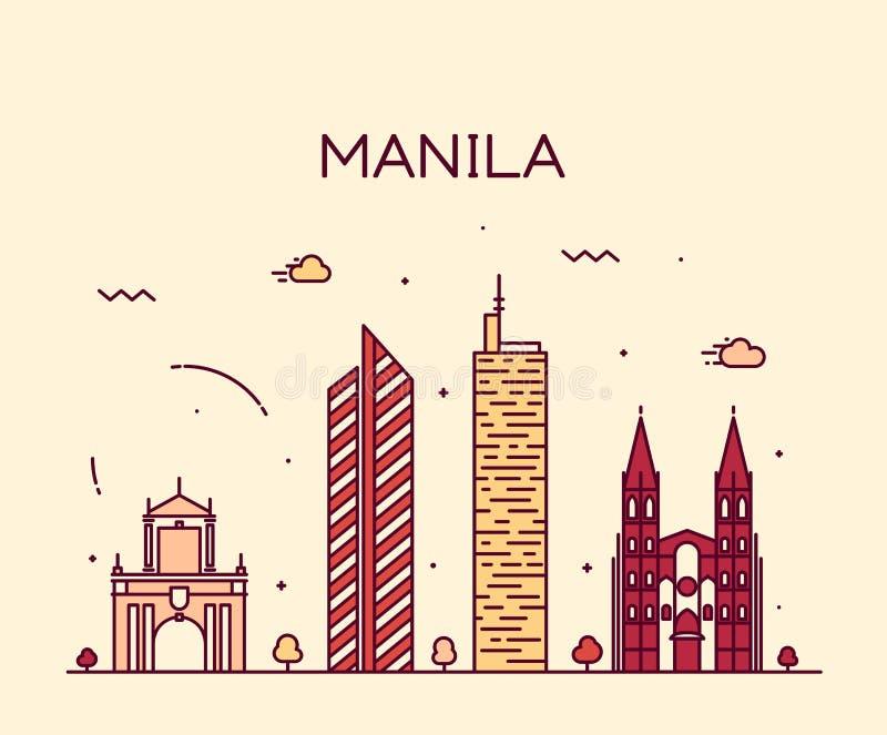 Illustrazione d'avanguardia di vettore dell'orizzonte di Manila lineare illustrazione di stock