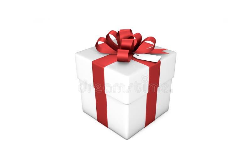 illustrazione 3d: Contenitore di regalo bianco con il nastro/arco e l'etichetta di seta rossi su un fondo bianco isolato royalty illustrazione gratis