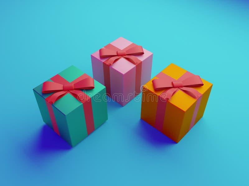 illustrazione 3d dei contenitori di regali colourful illustrazione di stock