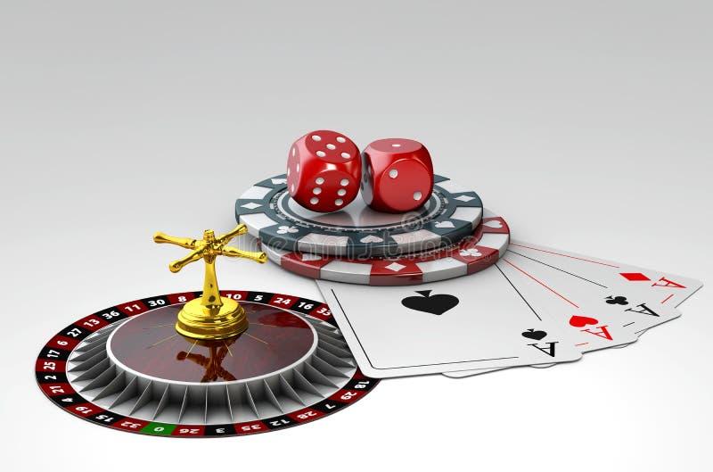 illustrazione 3d dei dadi, delle carte da gioco del poker e dei chip, su fondo grigio illustrazione di stock