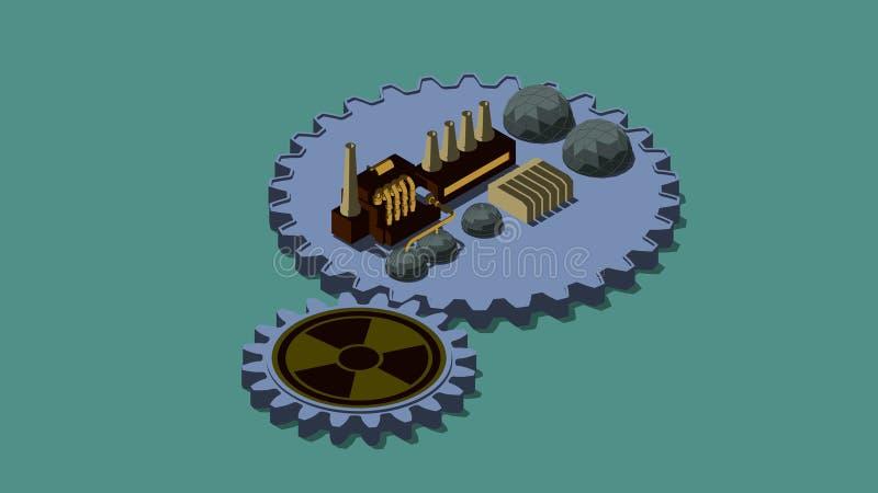 illustrazione 3D dei denti, dell'ingranaggio con il segno di radiazione e della pianta L'idea dello sviluppo di energia nucleare  illustrazione vettoriale