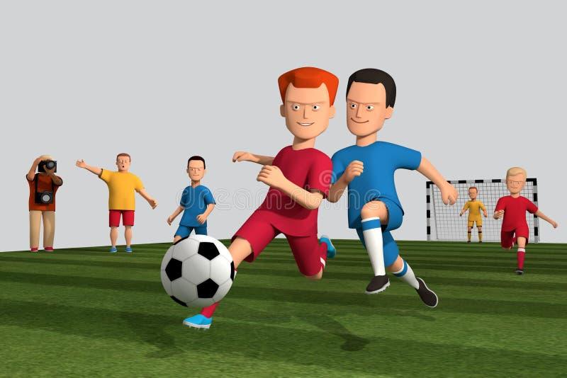 illustrazione 3d dei giocatori di football americano dei ragazzi fatti funzionare con una palla su un campo di football americano illustrazione vettoriale