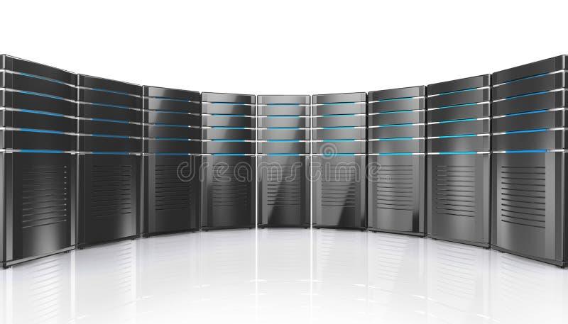 illustrazione 3D dei server della stazione di lavoro della rete illustrazione vettoriale
