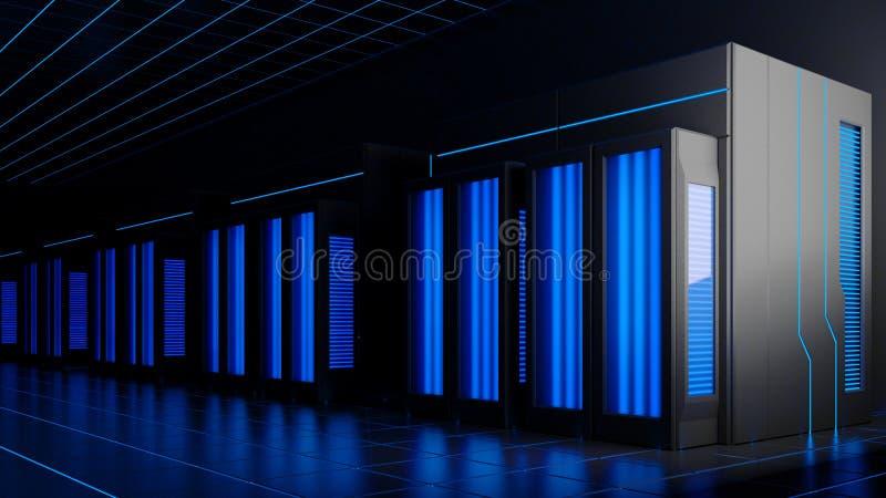 illustrazione 3d dei server nella stanza scura illustrazione vettoriale