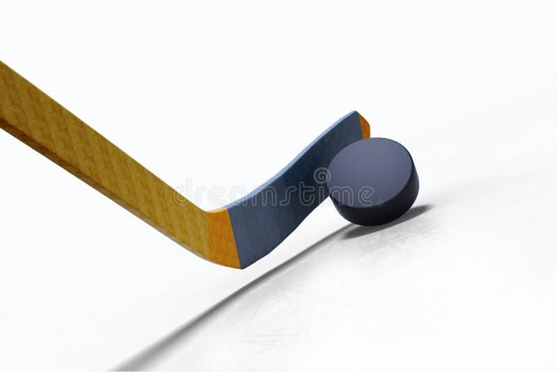 illustrazione 3d del bastone di hockey e del disco di galleggiamento sul ghiaccio illustrazione vettoriale