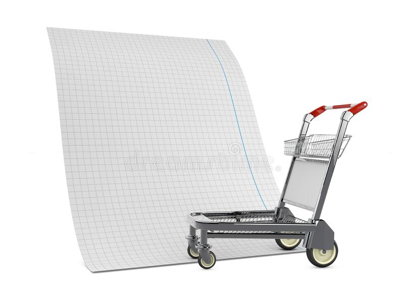 illustrazione 3d del carrello di compera matal con la lista saltante isolata su bianco illustrazione vettoriale