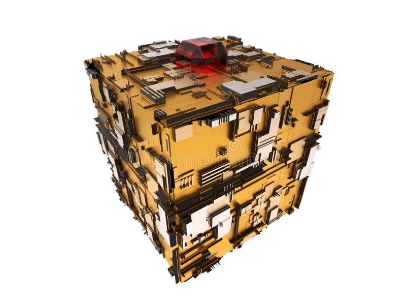 illustrazione 3d del cubo techno illustrazione vettoriale