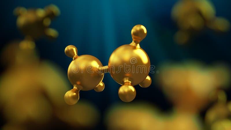 illustrazione 3D del fondo astratto della molecola del metallo dell'oro illustrazione di stock