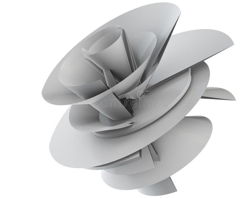 illustrazione 3D del modello techno del fiore illustrazione vettoriale