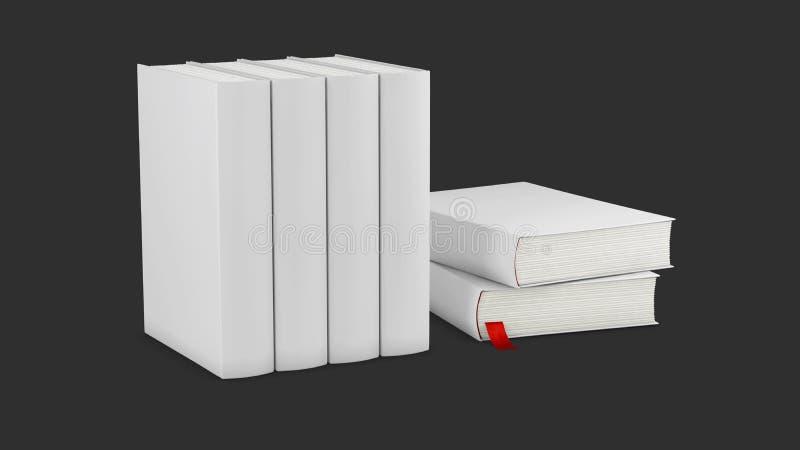 illustrazione 3d del modello verticale in bianco della copertina di libri sulla superficie di bianco royalty illustrazione gratis