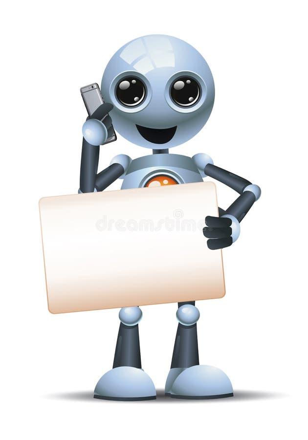 illustrazione 3d del piccolo robot che tiene in bianco il segnale durante la chiamata usa la comunicazione telefonica illustrazione di stock