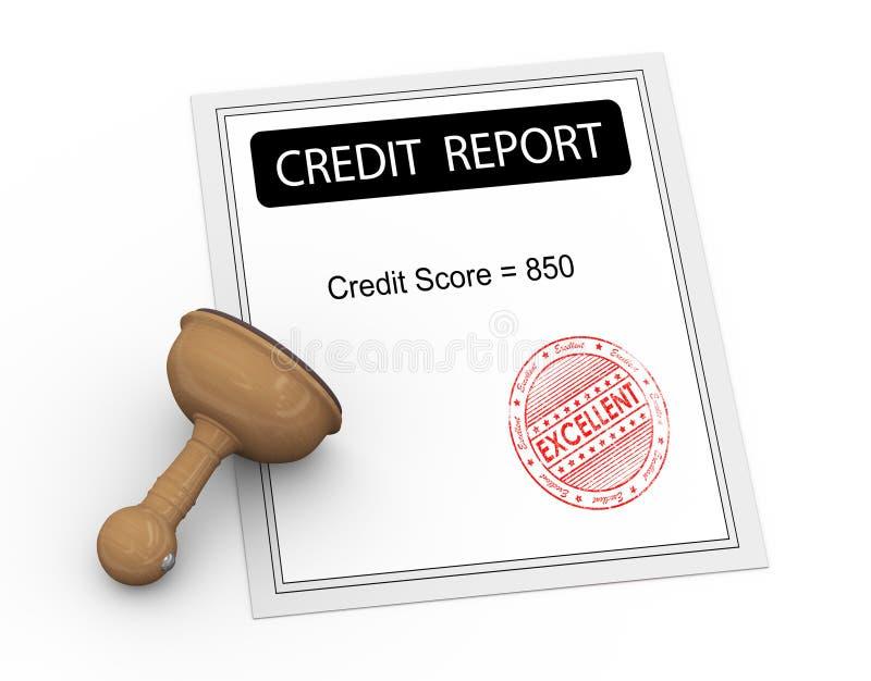 rapporto eccellente del punteggio di credito 3d illustrazione di stock