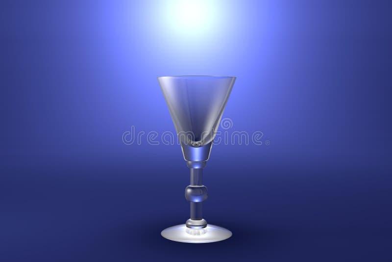 illustrazione 3D del vetro del vermut o del liquore su fondo artistico evidenziato blu-chiaro - bicchiere rendere illustrazione vettoriale
