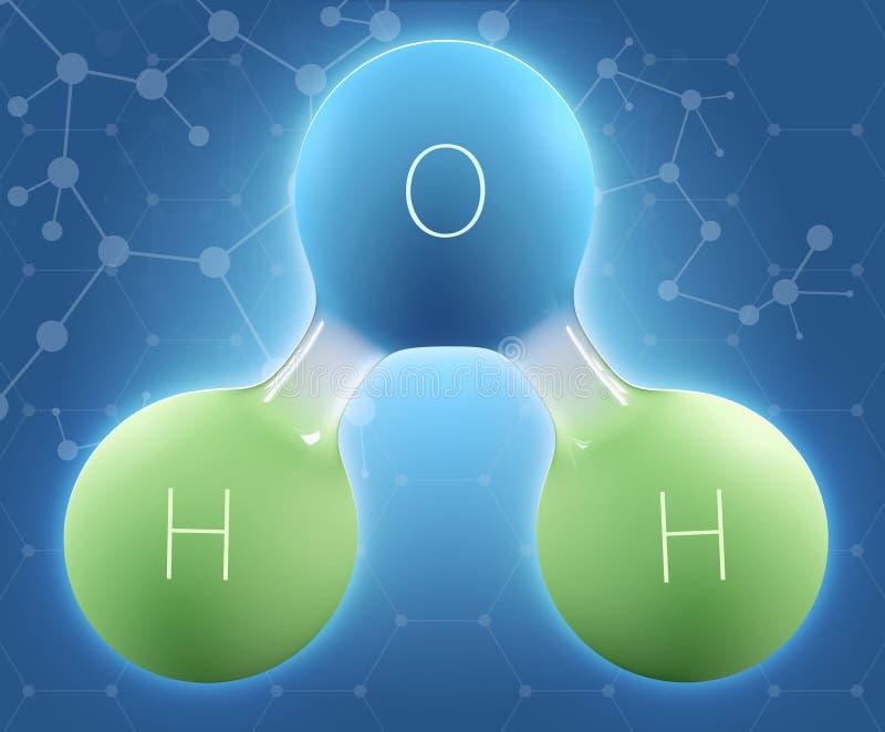 illustrazione 3d dell'acqua di formula chimica H2O immagini stock libere da diritti