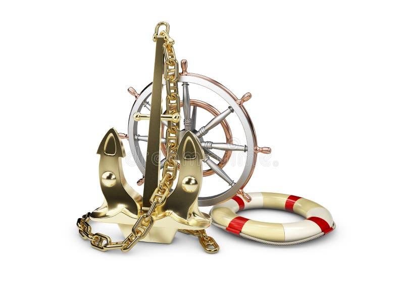 illustrazione 3D dell'ancora dell'oro con la ruota ed il salvagente della nave, su un fondo bianco illustrazione vettoriale
