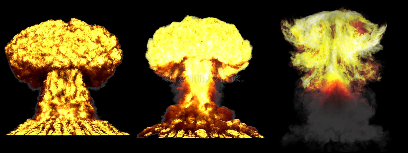 illustrazione 3D dell'esplosione - esplosione differente altamente dettagliata enorme del fungo atomico di 3 fasi della bomba all illustrazione di stock