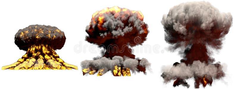 illustrazione 3D dell'esplosione - esplosione differente del fungo atomico del fuoco di 3 grande fasi della bomba eccellente con  illustrazione di stock