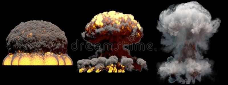 illustrazione 3D dell'esplosione - esplosione differente enorme del fungo atomico del fuoco di 3 fasi della bomba all'idrogeno co royalty illustrazione gratis