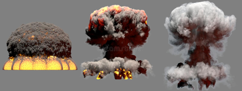 illustrazione 3D dell'esplosione - esplosione differente enorme del fungo atomico del fuoco di 3 fasi della bomba termonucleare c royalty illustrazione gratis