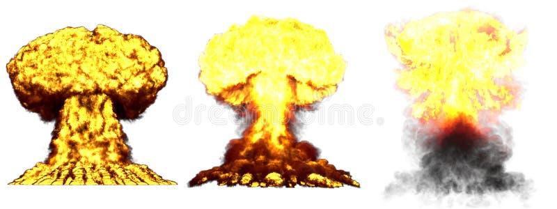 illustrazione 3D dell'esplosione - esplosione differente molto dettagliata del fungo atomico di 3 grande fasi della bomba nuclear fotografia stock libera da diritti