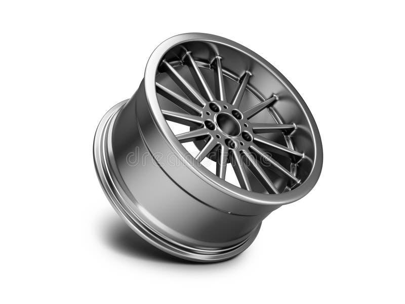 illustrazione 3d dell'orlo forgiato dell'automobile su fondo bianco illustrazione vettoriale