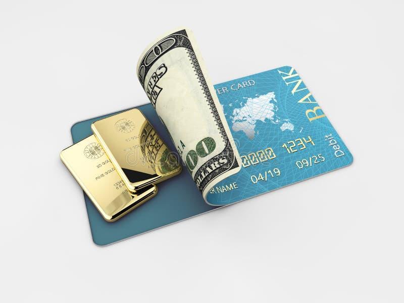 illustrazione 3D della carta di credito lucida e della barra di oro blu isolate su fondo grigio illustrazione vettoriale