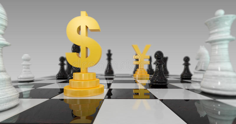 illustrazione 3d della guerra di valuta, dollaro contro gli yuan sulla scacchiera illustrazione di stock