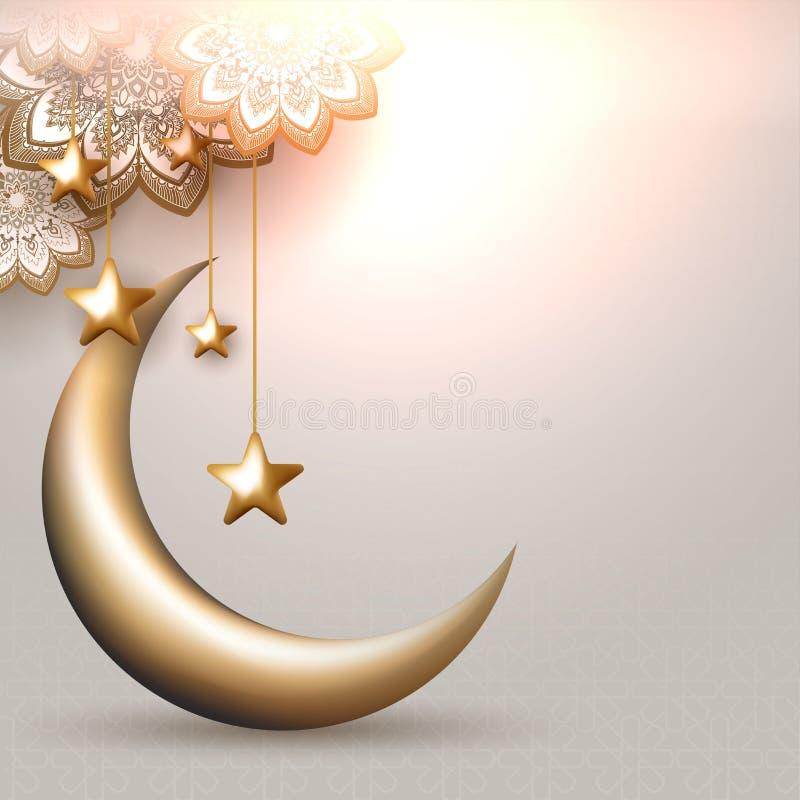 illustrazione 3D della luna crescente con l'attaccatura le stelle dorate e del modello arabo illustrazione di stock