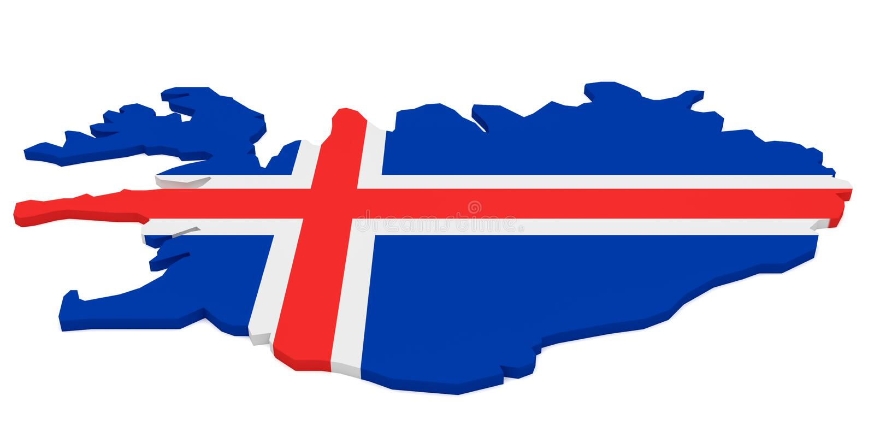 illustrazione 3d della mappa dell'Islanda con la bandiera islandese isolata su bianco royalty illustrazione gratis