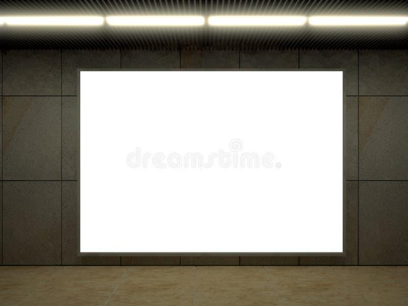 illustrazione 3d della stazione della metropolitana moderna con il segno dell'annuncio immagini stock