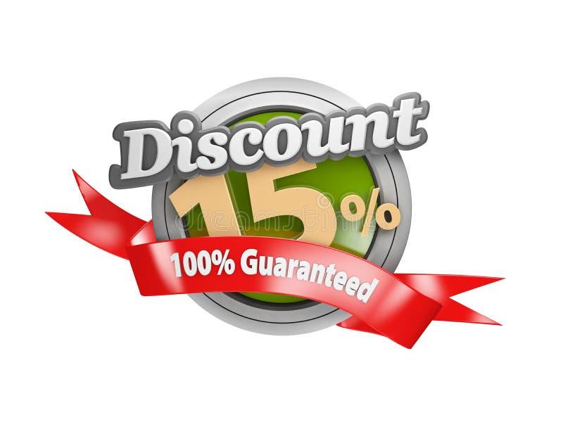 illustrazione 3d della vendita quindici per cento fuori da bianco isolato illustrazione di stock