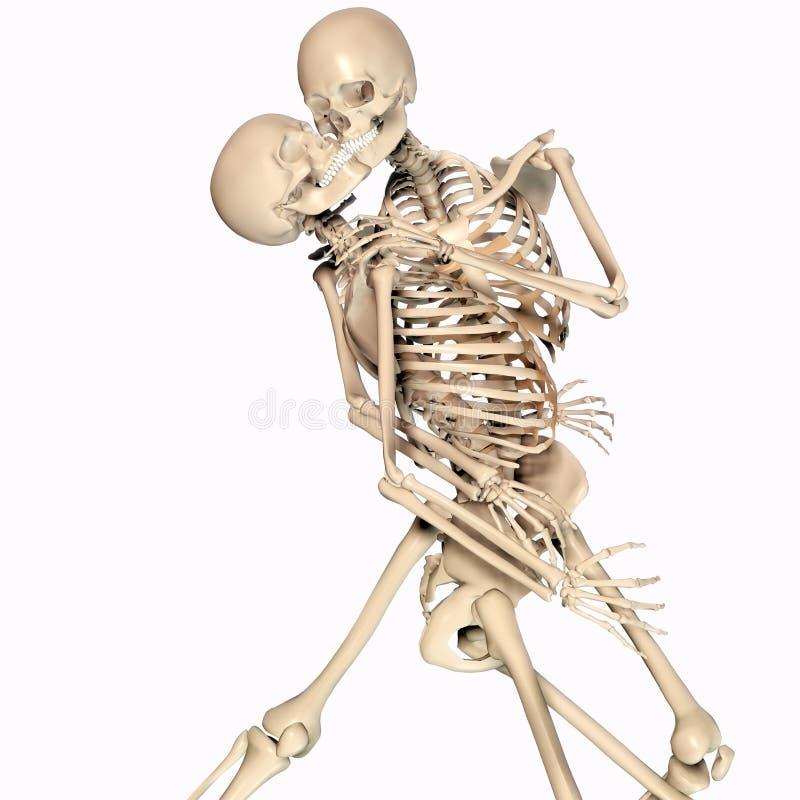 illustrazione 3d delle coppie di scheletro di dancing nella passione illustrazione vettoriale