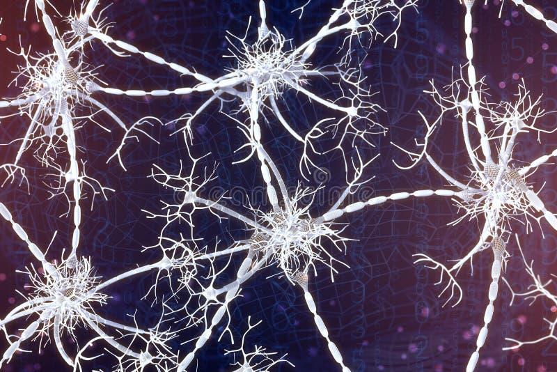 illustrazione 3d delle reti neurali su un fondo digitale Concetto di intelligenza artificiale illustrazione di stock