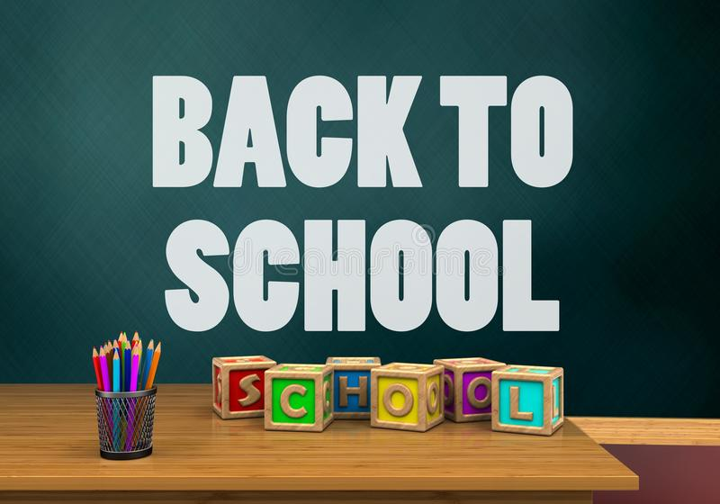 illustrazione 3d dello schoolboard con di nuovo al testo di scuola ed i cubi delle lettere illustrazione vettoriale