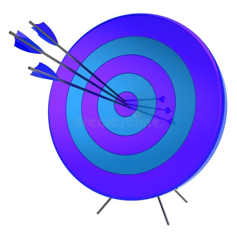 illustrazione 3d di accuratezza della fucilazione di successo delle frecce dell'obiettivo illustrazione di stock