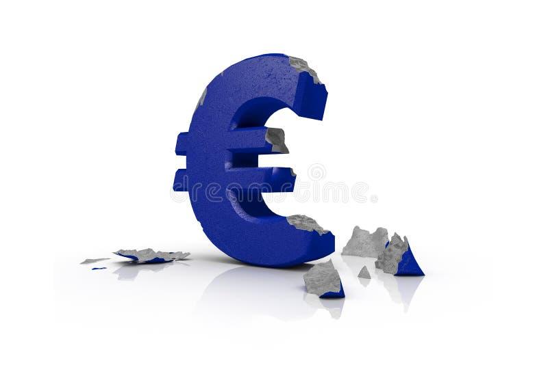 illustrazione 3d di euro segno avariato illustrazione vettoriale