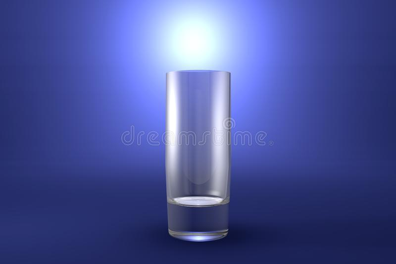illustrazione 3D di forte vetro di collins dei cocktail su fondo artistico evidenziato blu-chiaro - bicchiere rendere illustrazione di stock
